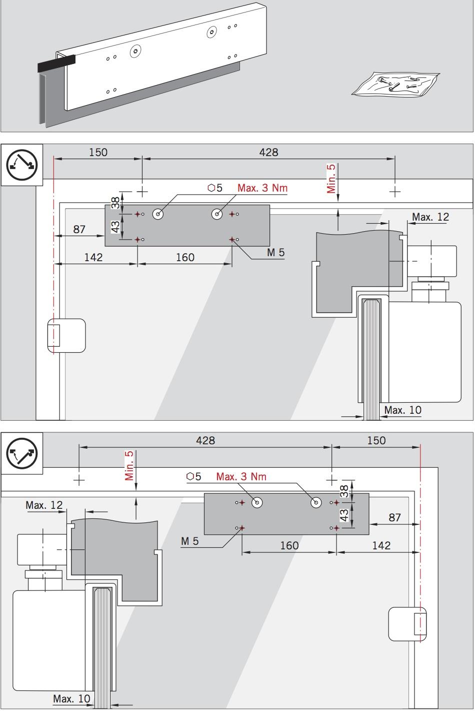 Схема установки DORMA TS 92 на стеклянную дверь